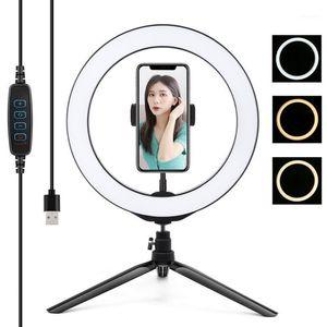 10in 26 cm Fotografía Ringlight Tri trípode Stand Dimmable LED Selfie Ring Light Remote Ring Light Lámpara de luz para maquillaje Video Live Studio1