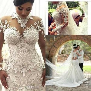 2021 luxo sheer mangas compridas vestidos de casamento ilusão Nigéria pescoço alto apliques frisado dubai árabe castelo sereia vestidos de casamento BA7687
