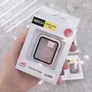 Protector de pantalla completa 360 para iWatch 38mm 42 mm 40 mm 44mm marco de parachoques Funda dura con película de vidrio templado para reloj 5/4/3/2/1