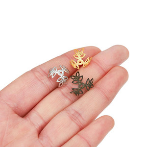 100pcs Lot 16x16mm Metallic Kc Gold Three Leaves Spacer Beads End Cap For Diy Jewelry Making Bracelet Findings Supplies H bbyaDi
