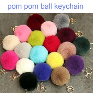 8CM Pompoms Keychain Rabbit Fur Ball Key Chain Cute Key Ring for Women Bag Cars Keychins Pom Pom Bag Accessories Kimter-X942FZ