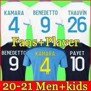 مرسيليا Soccer Jersey Olympique DE 20 21 OM 2020 2021 ميلوت القدم المأكولات Thauvin Benedetto Kamara Payet Shirts Men + Kids Kit
