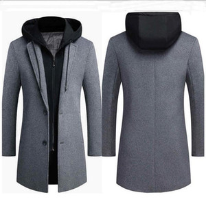 Men Brand Wool Blend Fashion Winter Warm Thick Woolen coat Mid-length Removable hat wool Coat Double collar Jacket