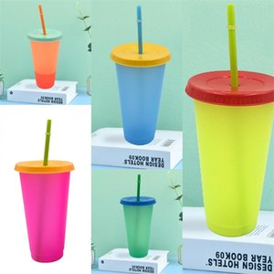 Clear Plastic Color Changing Cup With Lid Reusable Round Tumbler Suction Tubes Coffee Mugs Temperature Sensing Exercise 5hb B2