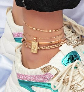 European and American Fashion Jewelry Fashion Ins Style Exaggerated Anklet Female Exaggerated Multi-Layer Chain Set r5CA#