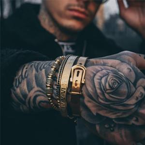 Men bracelet 4pcs Set Hot Men Titanium Steel Roman Numeral Bracelet crown charms Macrame beads Bracelet seads Bracelets Braiding Man Luxury