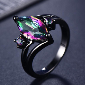 Women's ring new products: black gold inlaid gemstone fashion dazzle color high-grade high-quality rings sell well for women's rings NO34#