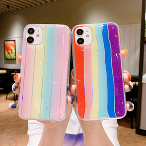 Bling Rainbow Gradient Epoxy Soft TPU Case For iPhone 12 11 Pro Max XS XR X 8 7 SE Samsung S8 S9 S10 S20 Plus Note 10 20 Ultra