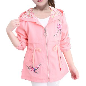Girls Windbreaker Coat New Cute Flower Hooded Outwear for baby Kids Clothes Children Casual Jackets 6 8 10 12 Years Vestidos 201118