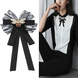 Black Bow Lace Pearls Ribbon Brooch Ladies New Bees Bow Ties Corsage Collar Flower Lapel Pin Women Clothes Accessories Gift