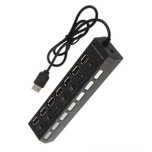 7-Port USB 2.0 Hub with High Speed Adapter On Off Switch for Laptop PC Home Office @M23