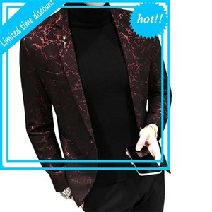 Blazer stampato Blazer di Myazhou Fashion New Slim Red Stage Party Men Social Men Pack Jas