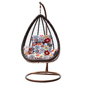 Outdoor Indoor Garden Hammock Macrame Hanging Swing Chair With Pillow And Macrame Lace