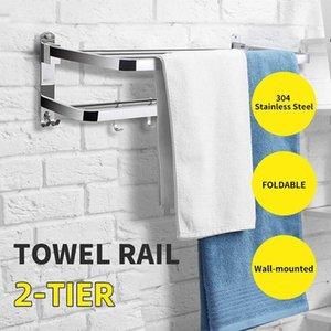 Stainless Steel Bath Towel Holder Ladder Shelf Wall Mounted Kitchen Bath Rail Hanger Foldable Towel Rack Rod Organiser Storage T200915