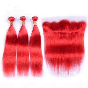 Virgem Brazilian Pure Red Human Weaves Weaves com encerramento frontal Seda Reta Red Red Red Lace Frontal 13x4 com 3 Ofertas de Bundles