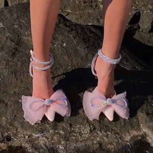 Satin Pink Bridal Shoes de boda Stiletto Tacones altos Organza Bowtie-Knot Zapatos de cristal Formal Sandalias de fiesta de la noche