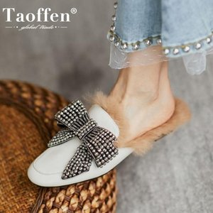 TAOFFEN Real Leather Women Winter Slipper Warm Fur Rivets Bow Fashion Flats Shoes Woman Casual Home Daily Footwear Size 35-39