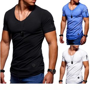 Free shipping Plus Size Mens Clothing Short T Shirts With zipper Tops Short Sleeved Sports Fashion Wear Summer Clothes Tees