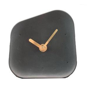 Nordic Home Украшения аксессуары Геометрия в форме цементные часы настольные деконные украшения немой бетон маленький стол часы Black1