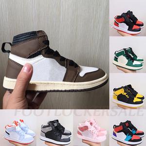 2020 bambini scarpe marroni Bassa Travis Scotts bambini scarpe da basket pino verde 1 High OG 1s Sport scarpe da tennis del bambino formatori del bambino