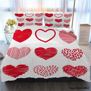 3pcs Bedding Cotton Set Super King Duvet Cover Set Red Hearts In Hand Drawn Style Grunge Polyester Duvet Cover Luxury Bedding Sets