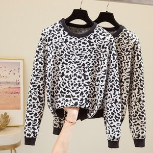 2020 Loose Print Sweater Fashion Lady Daily Wear Korean Style Long Sleeve O Neck Pullover Leopard Knitted Shirt