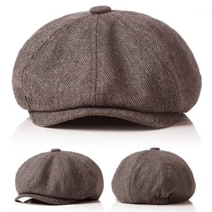 Fashion Men Berets Hat Autumn New Vintage Herringbone Octagon Caps Women'S Casual Pumpkin Hat Gatsby Flat Berets gorras1