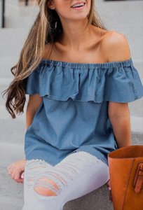 Summer Sexy Womens Off Shoulder Denim blouse Ruffles Shirt Sleeveless Casual Loose Tops Blouse Sweet Clothing for ladies