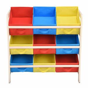 Kids Toy Organizer Storage Bin Box Wood Frame Shelf Rack Playroom Bedroom