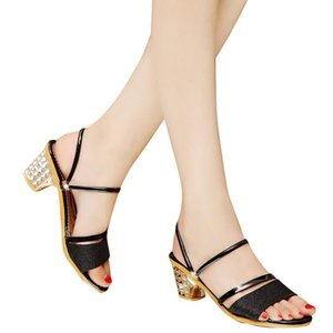 SAGACE Woman Sandals Shoes Slippers 2020 Summer Style Square Pumps High Heels Slip On Bling Fashion Gladiator Shoes Women May25