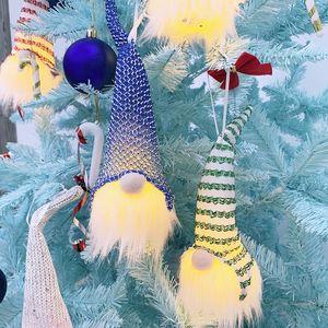 6 цветов Освещенные рождественские гномы встроенные аккумуляторная ткань Sweidsh Santa Gnomes эльф домохозяйственные украшения дерево висит орнамент оптом