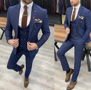 Мужские костюмы Blazers Blue 3 Piece Последнее стиль мужской костюм дизайн бизнес нашивка стройная подходит для свадьбы формальный износ
