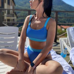 Cintura alta Bikinis 2020 Swimsuits Bandeau Swimwear Mujeres empalmando Biquini Beachwear Sports Cytbed Trajes de baño Nuevo