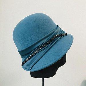 Venta caliente-Fibonacci Vintage Wool Fieltro Sombrero elegante Fedoras Mujeres Cubo Sombrero Satén Paño Rhinestone Caseras Caps Black Sombreros