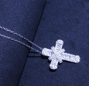 Jesus Trendy Cubic Pendant Zirconia Zircon Christian Gift Necklaces Women Plated Cross Silver Jewelry For Shiny Necklace sqcgh queen66