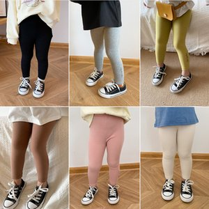 Spring Summer cute girls candy color all-match leggings kids cotton casual base pants LJ201019