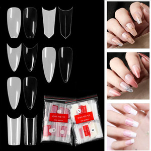 500pcs  500pcs pack Natural Clear False Acrylic Nail Tips Full Half Cover Tips French Sharp Long Coffin Ballerina Fake Nails Manicure Tool