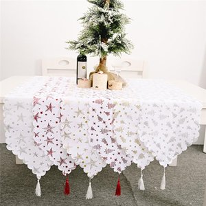 2021 New Year 1pc 180x35cm Christmas bronzing white tablecloth Christmas Decorations for Home Ornaments Xmas Gift Noel Navidad