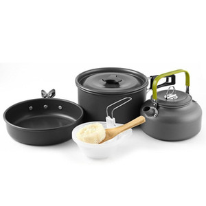 cookware tea pot package 2-3 people cookware and tea pot camping cookware combination outdoor three-piece set waIKy