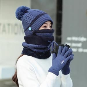 4PCS Women Winter Neck Warm Scarf Set Hat Knit Touch Screen Mittens Winter Warm Suit