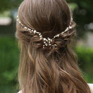 SLBRIDAL Golden Wired Rhinestones Crystal Freshwater Pearls Wedding Headband Bridal Hair Vine Hair Accessories Women Jewelry