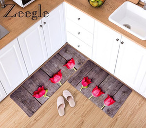 Zeegle Kitchen Floor Mats Soft Water Absorbent Anti-slip Bath Carpet Bathroom Entrance Doormat Runner Rug Set