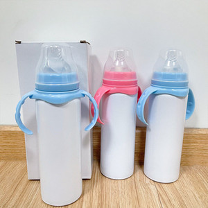 Sublimation 8oz Baby Chapifier Cup en blanco DIY DIY Double Walled Steel Steel Sipy Cups Para Año Nuevo Regalo