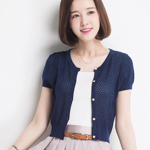 Short-sleeve cardigan small cape female short design all-match air conditioning shirt sunscreen knitted short jacket thin female