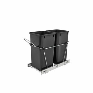 Rev-A-Shelf Double 27 Quart Pullout Bin حاوية، أسود (مربع مفتوح)
