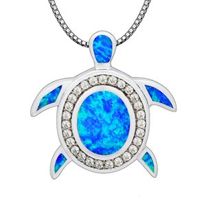 Blue Fire Opal Wholesale Fashion Jewelry Silver Plated Lovely Sea Turtle Pendants and Necklace For Women PJ17091306
