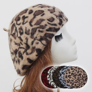 Fashion Fur Hat Rabbit Hair Leopard Print Winter Wool Cap Womens Beret Comfortable Warm Classical Stylish Trendy Hat