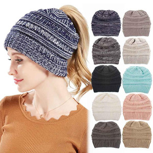 9 styles Unisex Fashion beanie hats Ponytail Star Caps Knitted Beanie Girls Winter Warm Hat Back Hole Pony Tail Autumn Casual Beanies hats