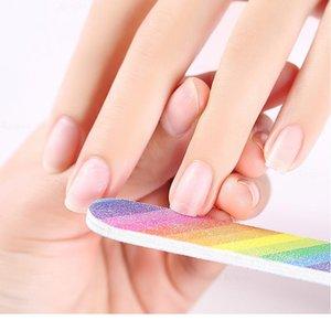 Arco-íris Arquivo de Prego Polimento Stick Bloco De Moagem Nail Art SandPoper Lapping Burnish Dispositivo Manicure Sanging Bufão Beau Qyltus