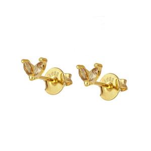 Boucles d'oreilles en argent sterling 925 Dainty 2 Marquises CZ Flower Flowed Boucles d'oreilles pour femmes Boucles d'oreilles minimalistes Mode